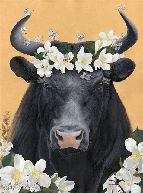 hella bull l ferdinand the bull and his flowers 8x10 watercolor