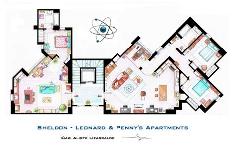 big bang theory floor plan floor plans of homes from famous tv shows