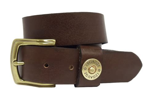 shotshell mens leather casual belt brown