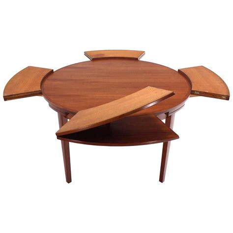 expanding dining table rare danish modern teak round expandable top dining table