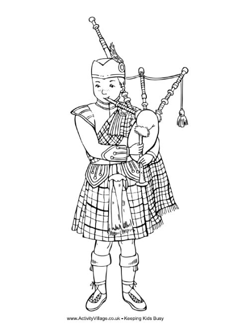 Scottish piper colouring page | Burns night crafts