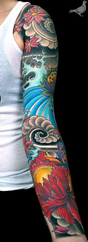 oriental tattoo colored japanese peony cherry blossoms water and cloud swirl