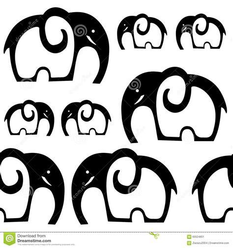 black and white pattern elephant cartoon elephant on white background royalty free stock