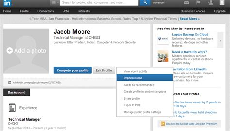 how to upload your resume to linkedin market