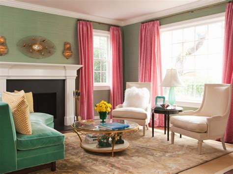 pink and green living room interview with interior designer hillary thomas