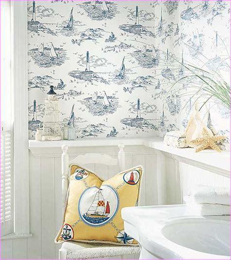 Nautical wallpaper bathroom home design ideas