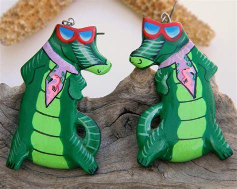 gifts for florida gator fans vintage alligator florida gator fan wood earrings handmade