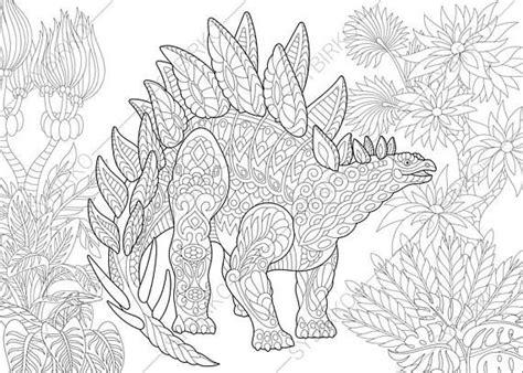 dinosaur mandala coloring pages dinosaur stegosaurus adult coloring book page zentangle