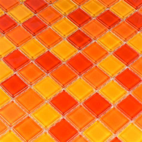 orange fliesen klarglasmosaik fliese rot orange gelb 25x25x4mm tm33011m