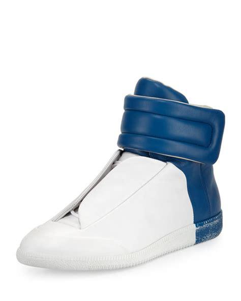 blue margiela sneakers maison margiela future leather high top sneaker white blue