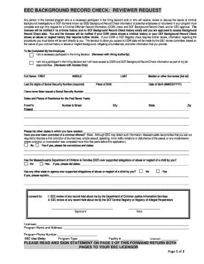Dcfs Background Check Form Background Record Check Dcf Ma Fill Printable
