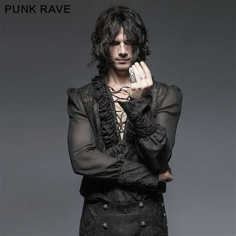 men s punk rock black white pattern gothic goth emo punk rave men gothic kera black shirt sexy rock party
