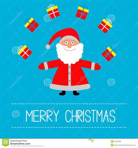 cartoon santa claus and gifts merry christmas card stock