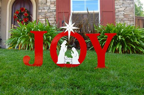 joy nativity outdoor christmas holiday yard art sign
