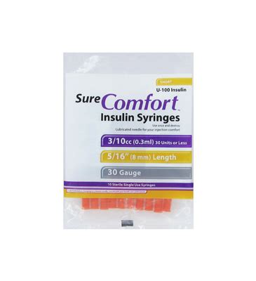 sure comfort syringes sure comfort 30 g 0 3 cc 5 16 insulin syringes 10 ea
