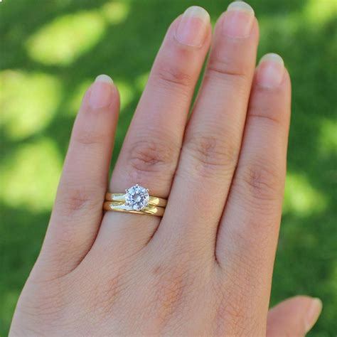 yellow gold ct mm moissanite engagement solitaire ring set