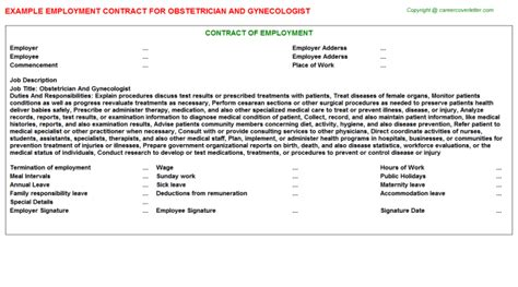 obstetrician and gynecologist employment contract