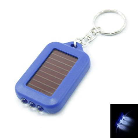 3 led mini solar power flashlight torch keychain blue