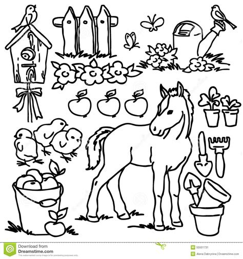 Elektrica Panda White coloring book farm animals stock illustration