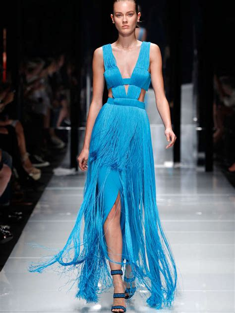 Versace Dress by Versace Caribbean Blue Fringe Gown At 1stdibs