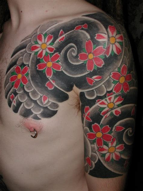 japanese flower tattoo designs for men tebori tattooing