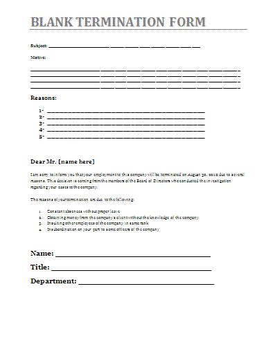 termination of employment form template blank termination form az word templates and forms