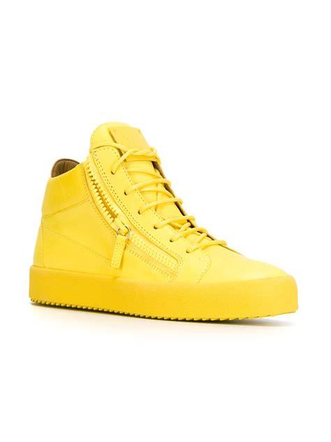yellow high top sneakers giuseppe zanotti zip leather high top sneakers in yellow