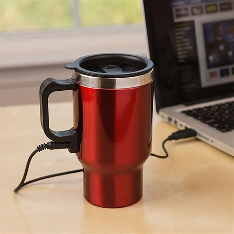 heated coffee mug dual heated travel mug thinkgeek