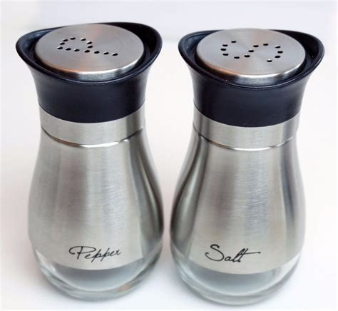 salt and pepper shakers stainless steel salt and pepper shakers set with glass