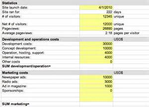 Roi Excel Template by Free Website Roi Calculator Spreadsheet