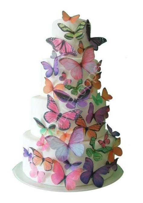 Edible Cake Decorations - toppers ombre edible butterflies in pink