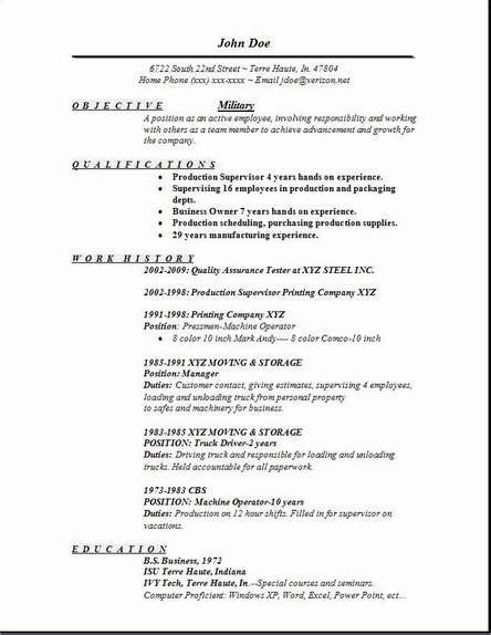 military resume occupational exles sles free edit