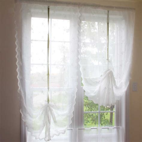 pull curtains rose embroidery sheer pull up curtain