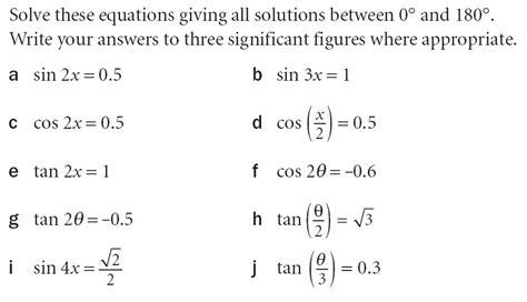 solving simple trig equations worksheet c2 solving trigonometric equations maths teaching