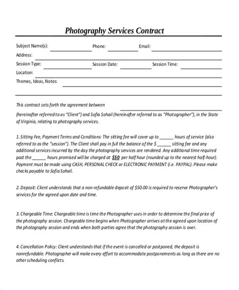 Sle Photography Contract Form 10 Free Documents In Doc Pdf Contract For Photography Services Template
