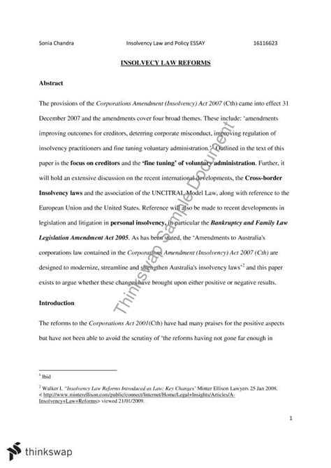 essay format uws insolvency law essay the provisions of the corporations