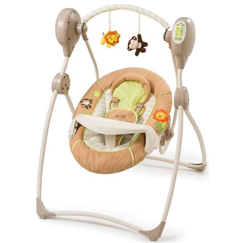 swinging a baby summer infant swingin safari swing