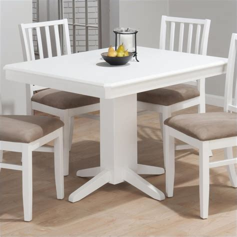 White Pedestal Dining Table by Jofran Aspen Rectangular Fixed Top Pedestal Dining Table