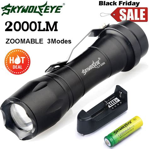 Senter Led Waterproof 2000 Lumen 3mode 1x Battery Aa T1910 tactical 2000lm cree q5 led flashlight zoomable focus