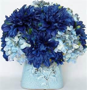 light blue flower arrangements artificial flower arrangement dark blue dahlias and light