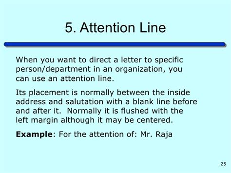 Business Letter Attention Line letter writing