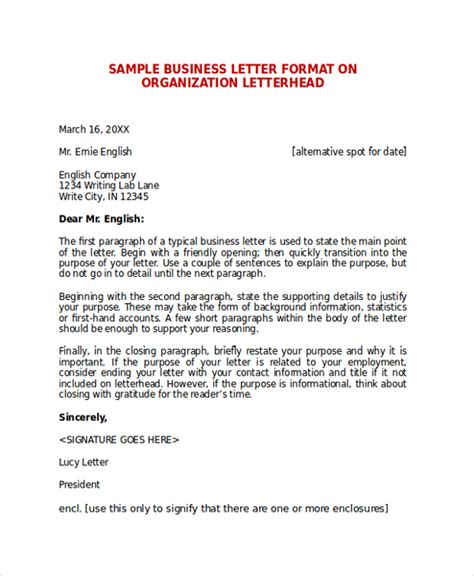 Business Letter Format Org Sle Business Letter Format 7 Documents In Pdf Word