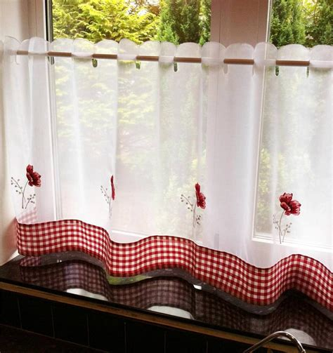 Poppy Kitchen Curtains Poppy Flower Voile Cafe Net Curtain Panel Kitchen Curtains Ebay