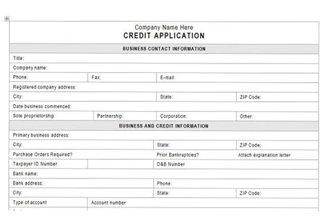Form Credit Application Customer Accounts Receivable Controls Vitalics