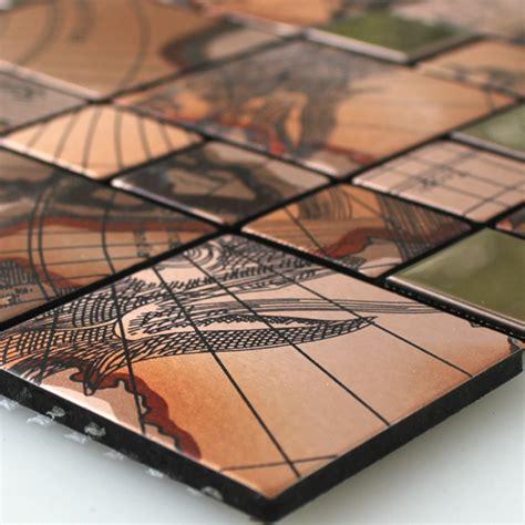 ausgefallene fliesen mosaic tiles stainless steel metal columbus copper ht88231m