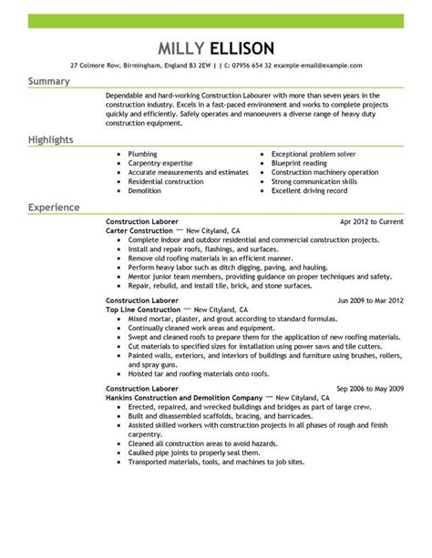 Resume Exles For Construction by Best Construction Labor Resume Exle Livecareer