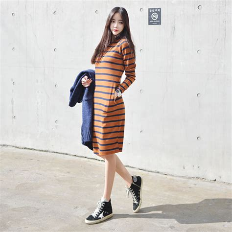 dress stripes korean fashion korean style striped dress mustard asian ulzzang