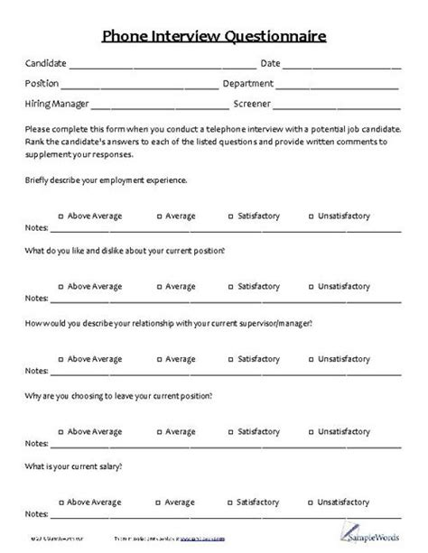 Candidate Questionnaire Template Phone Interview Questionnaire Phones Search And Interview