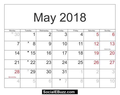 may 2018 calendar printable template with holidays pdf usa uk