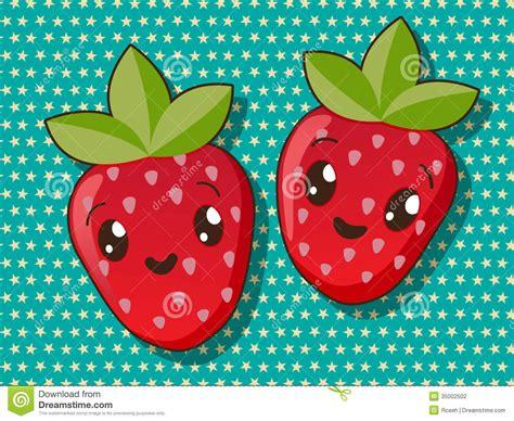imagenes de fresas kawaii iconos de la fresa de kawaii ilustraci 243 n del vector